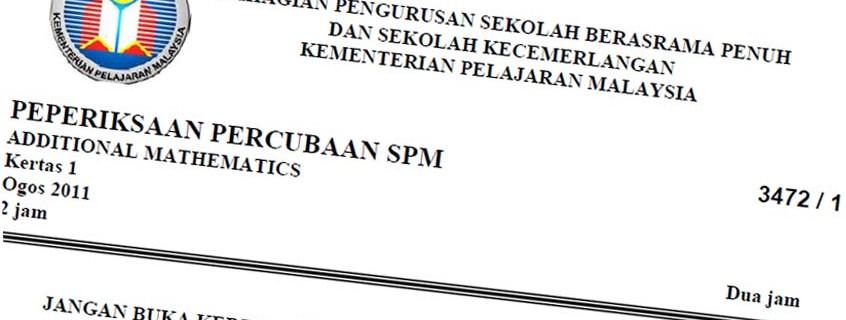 Koleksi Kertas Peperiksaan Percubaan SPM 2014